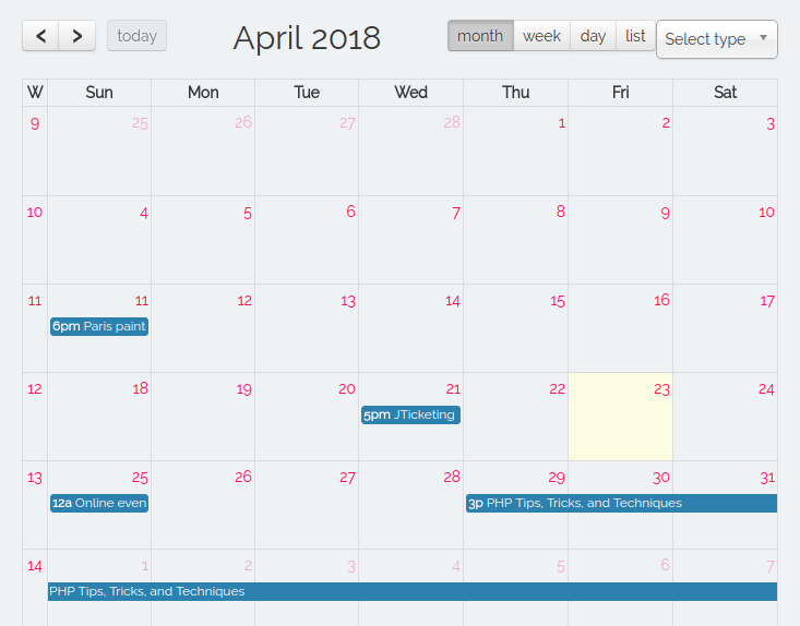 Blended My Calendar view for users based on jLike