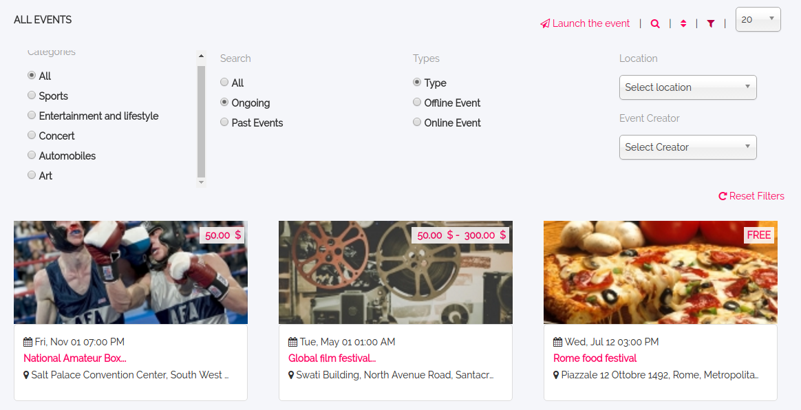 Improved UX for Event Filters